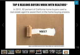 Top 6 Reasons Buyers work With REALTORS: first image of slide show